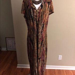 Plus Size Multi Colored Tribal Print Maxi Dress 18